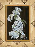 Green Painting Framed Prints - Damask White Floral 2 Framed Print by Debbie DeWitt