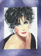 Actors Painting Originals - Dame Elizabeth Taylor by Cyndi Brewer
