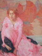 Knelt Paintings - Dame en Rose by Edmond Francois Aman Jean