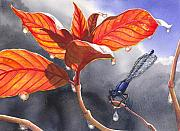 Leaf Paintings - Damsel Fly by Catherine G McElroy