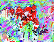 Hockey Painting Originals - Dan Cleary and 5 by Donald Pavlica