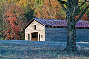 Tennessee Barn Posters - Dan Lawson Place Barn in Autumn Poster by Clarence Holmes