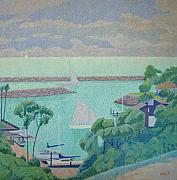 Pointillist Prints - Dana Point Harbor Print by Barry Kadische