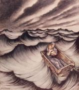 Son Drawings Posters - Danae and her son Perseus put in a chest and cast into the sea Poster by Arthur Rackham
