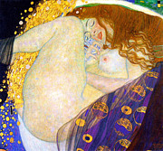 Gustav Klimt Canvas Paintings - Danae by Gustave Klimt by Pg Reproductions