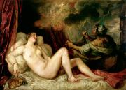 Shower Curtain Painting Prints - Danae Receiving the Shower of Gold Print by Titian