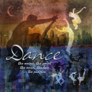 Dance Posters - Dance bright colors Poster by Evie Cook