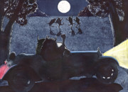 Buffalo Paintings - Dance by the light of the moon by Catherine G McElroy