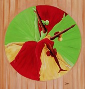 Green Movement Painting Framed Prints - Dance Circle Framed Print by Ikahl Beckford