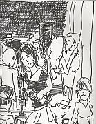 Waitress Drawings Posters - Dance Crowd and wine blue monday Poster by James  Christiansen