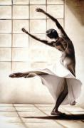 White Dress Painting Prints - Dance Finesse Print by Richard Young