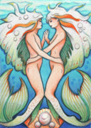 Mythology Drawings - Dance In The Depths by Amy S Turner