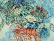 Blue Crabs Prints - Dance macabre II Print by Liduine Bekman
