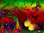 Rainbow Mixed Media - Dance of the Butterflies by Julie  Grace