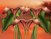 Vivid Colorful Flowers Prints - Dance Of The Calla Lilies - Abstract Realism Design Print by Zeana Romanovna