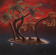 Amanda Clark Metal Prints - Dance of the Coconut Palms Metal Print by Amanda Clark