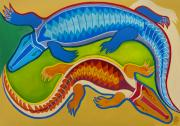 Crocodile Paintings - Dance of the Crocodiles by Robert Lacy