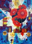 Acrylic Mixed Media Abstract Collage Prints - Dance of the Daisies Print by Terry Honstead
