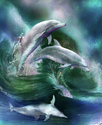 Waves Mixed Media Posters - Dance Of The Dolphins Poster by Carol Cavalaris