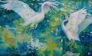 Silk Paintings - Dance Of The Egrets by Deborah Younglao