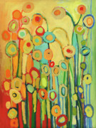Green Painting Originals - Dance of the Flower Pods by Jennifer Lommers