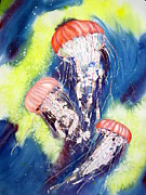 Dance Of Joy Posters - Dance of the Jellyfish Poster by Joann Perry