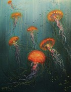 Sea Creatures Posters - Dance of the Jellyfish Poster by Tom Shropshire