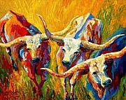 Cow Acrylic Prints - Dance Of The Longhorns Acrylic Print by Marion Rose