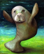 Creature Art - Dance of the Manatee by Leah Saulnier The Painting Maniac