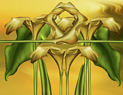 Realism Mixed Media Posters - Dance Of The Yellow Calla Lilies II Poster by Zeana Romanovna