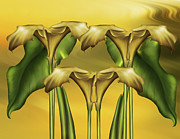 Lillies Digital Art Prints - Dance Of The Yellow Calla Lilies Print by Zeana Romanovna