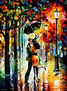 Leonid Afremov Metal Prints - Dance Under The Rain Metal Print by Leonid Afremov