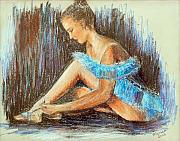 Dancer Pastels Originals - Dancer Adjusting Her Slipper by Marina Garrison