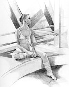 Walls Drawings Framed Prints - Dancer at Rest Framed Print by Phyllis Tarlow