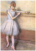 Dancer Pastels Metal Prints - Dancer at the Bar Metal Print by Edgar Degas