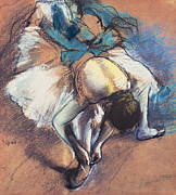 Tying Shoe Pastels Posters - Dancer Fastening her Pump Poster by Edgar Degas