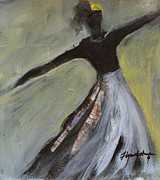 Cruciform Paintings - Dancer in Black and White by Lynn Chatman