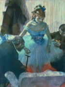 Blue Pastels Posters - Dancer in her dressing room Poster by Edgar Degas