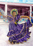 Nicaragua Paintings - Dancer in Purple by Sarah Hornsby