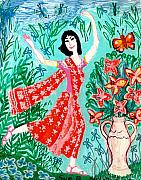 Flowers Ceramics Posters - Dancer in red sari Poster by Sushila Burgess