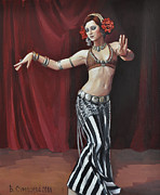 Red Drape Paintings - Dancer on red by Veronika Surovtseva