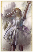 Dancer Pastels Metal Prints - Dancer Stretching Metal Print by Edgar Degas