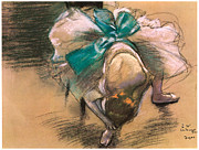Dance Shoes Posters - Dancer Tying Her Shoe Ribbons Poster by Edgar Degas