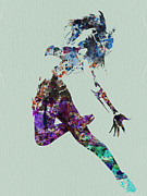 Silhouette Art Posters - Dancer watercolor Poster by Irina  March