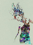 Dancer Art Painting Posters - Dancer watercolor splash Poster by Irina  March