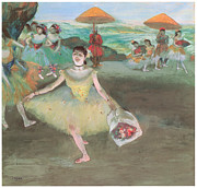 Dancer Art Pastels Prints - Dancer with a Bouquet Bowing Print by Edgar Degas