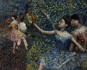 Tutu Painting Posters - Dancer with a Tambourine Poster by Edgar Degas