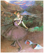 Dancer Paintings - Dancer with Bouquest by Edgar Degas