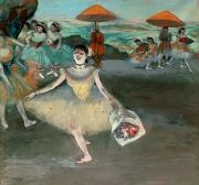 1877 Paintings - Dancer with Bouquet by Edgar Degas