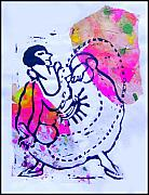 Lino Print Mixed Media Framed Prints - Dancer With Cord Framed Print by Adam Kissel